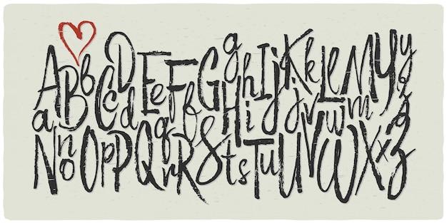 Conjunto de fuentes de escritura caligráfica