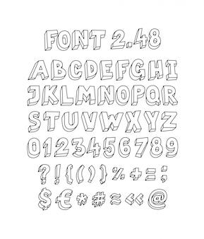 Conjunto de fuentes de letras y símbolos.