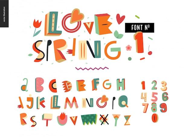Conjunto de fuentes de tipografía de alfabeto plano de niños