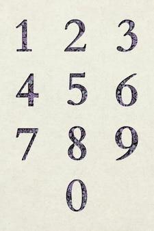 Conjunto de fuentes de tipografía retro de números florales