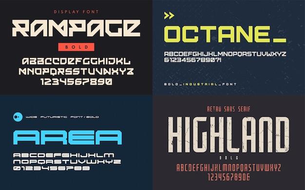 Conjunto de fuentes de visualización, tipografías, letras mayúsculas y números. muestras globales.