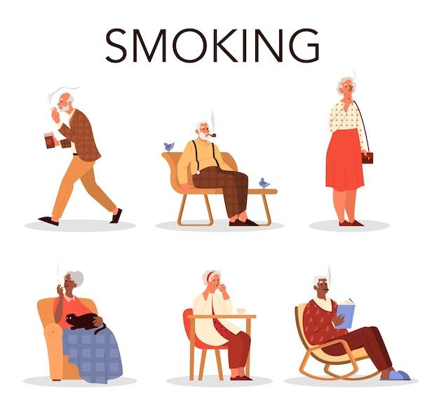 Conjunto de fumadores de personas mayores. hombre y mujer jubilados sentados en un banco y en un sillón fuma cigarrillos. adicción al tabaco. .
