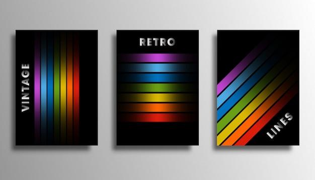 Conjunto de funda con líneas de degradado de colores para flyer.