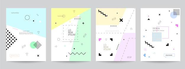 Conjunto de fundas con diseño minimalista y formas geométricas.
