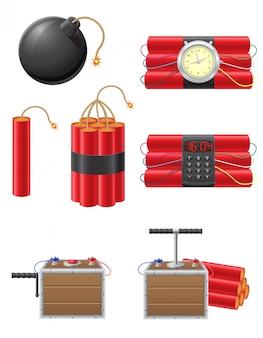 Conjunto de fusibles detonantes y dinamita ilustración vectorial