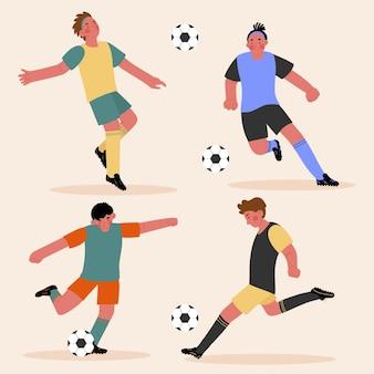Conjunto de futbolistas planos.