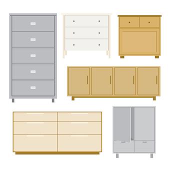 Conjunto de gabinete de madera muebles estilo aislado objeto vector
