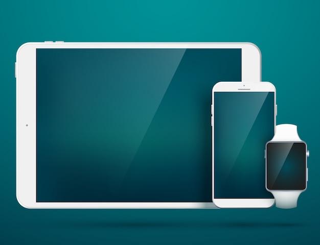 Conjunto de gadgets digitales de tecnología