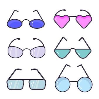 Un conjunto de gafas aislado. siluetas negras aisladas en blanco. diferentes formas, marcos, estilos.