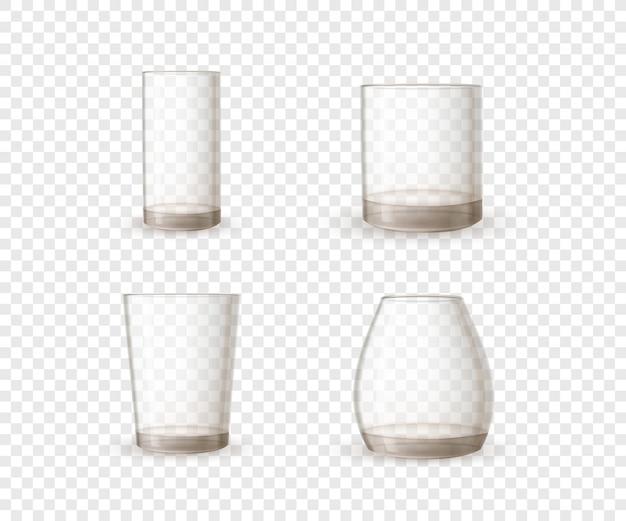 Conjunto de gafas brillantes realistas vacías en forma diferente sobre fondo transparente