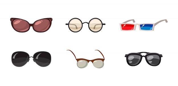 Conjunto de gafas. conjunto de dibujos animados de gafas
