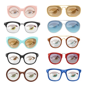 Conjunto de gafas ojo humano.