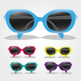 Conjunto de gafas de sol de colores aislados