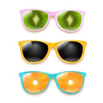 Conjunto gafas sol colorido sobre fondo blanco