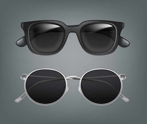 Conjunto de gafas de sol de dos hombres en negro y marcos de metal vista frontal, primer plano, aislado sobre fondo gris