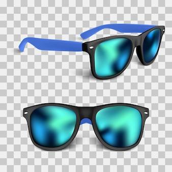 Conjunto de gafas de sol realistas con lente azul