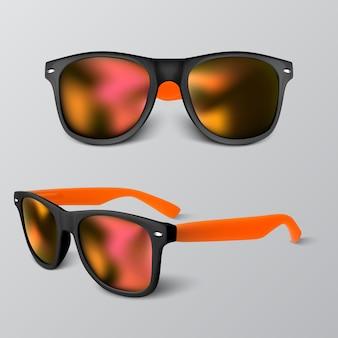 Conjunto de gafas de sol realistas con lente roja sobre fondo gris. ilustración.