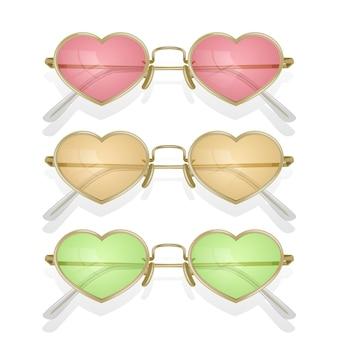 Conjunto de gafas de sol realistas con monturas de colores con forma de corazones
