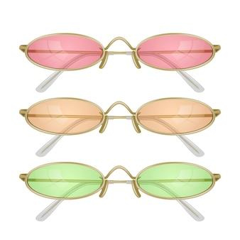 Conjunto de gafas de sol realistas con monturas de colores.