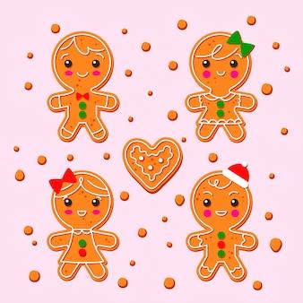 Conjunto de galletas de hombre de jengibre dibujado a mano