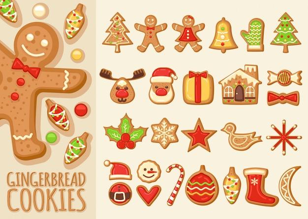Conjunto de galletas de jengibre de navidad
