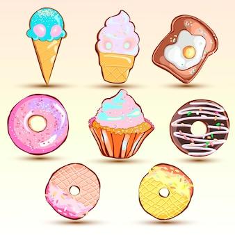 Conjunto de galletas lindas creativas.