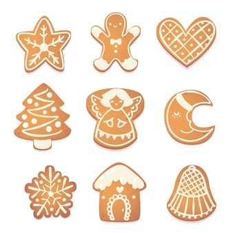 Conjunto de galletas lindas de navidad de pan de jengibre. caracteres de galletas para el diseño de año nuevo. ilustración de vector catroon.