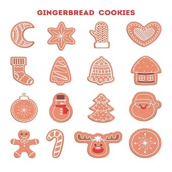 Conjunto de galletas de navidad al horno dulces tradicionales. pan de jengibre para mesa de celebración. postre delicioso. ilustración