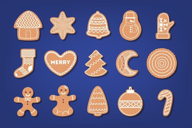 Conjunto de galletas de navidad al horno dulces tradicionales. pan de jengibre