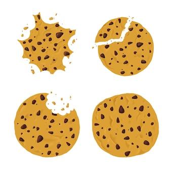 Conjunto de galletas redondas con chispas de chocolate aislado sobre fondo blanco.