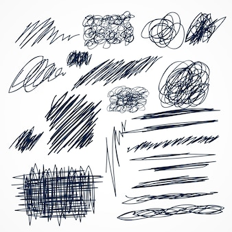 Conjunto de garabatos de bolígrafo