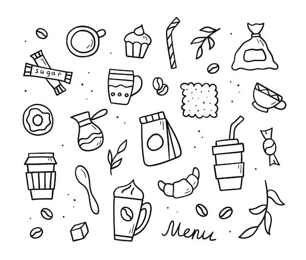 Conjunto de garabatos de café hechos a mano. objetos y símbolos vectoriales. ilustración de estilo de dibujo.