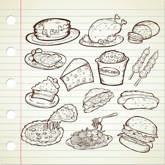 Conjunto de garabatos de comida chatarra dibujados a mano