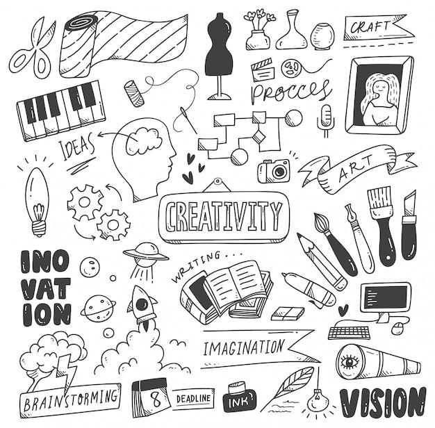 Conjunto de garabatos de creatividad.