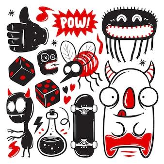 Conjunto de garabatos divertidos con monstruos