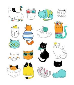 Conjunto de garabatos de gatos lindos