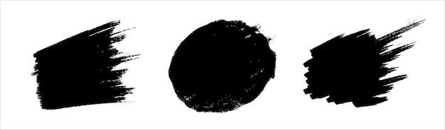 Conjunto de garabatos incompletos de pincel dibujado a mano. etiquetas engomadas del doodle del grunge para el mensaje, elemento de diseño de la marca de nota. cepille la textura de la mancha de frotis.