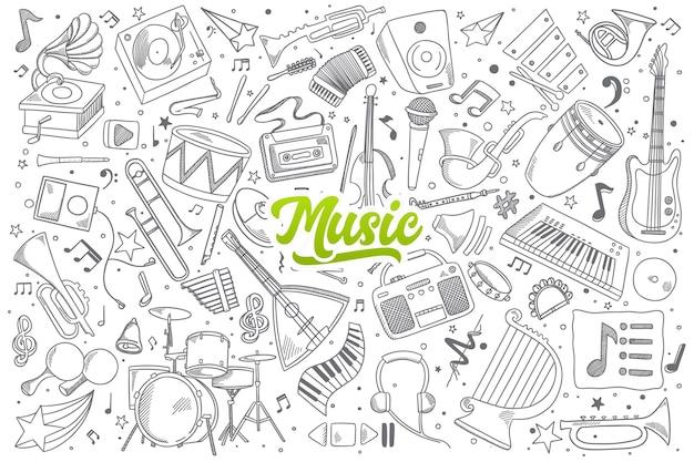 Conjunto de garabatos musicales dibujados a mano con letras verdes