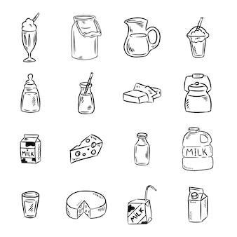 Conjunto de garabatos de productos lácteos en blanco y negro. productos lácteos. colección de imágenes de glifos de medios