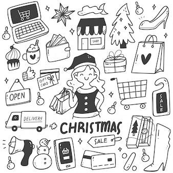 Conjunto de garabatos de venta de navidad
