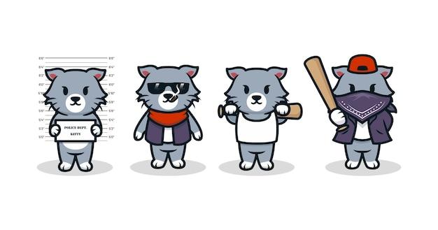 Conjunto de gatito disfrazado de mafia gángster.