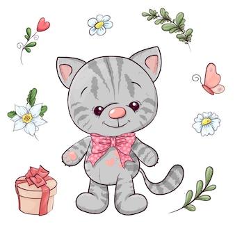 Conjunto de gatito y flores. dibujo a mano. ilustración vectorial