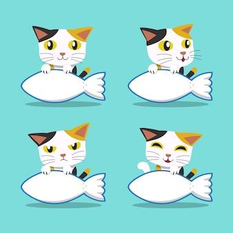 Conjunto de gato de personaje de dibujos animados con signo de peces grandes