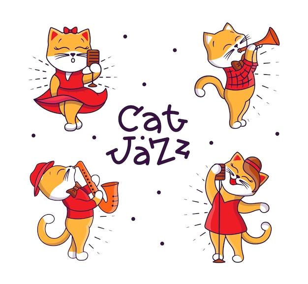Conjunto de gatos caricaturescos tocando jazz y cantando canciones.