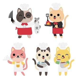 Conjunto de gatos divertidos cocinando, chefs, comida, servir