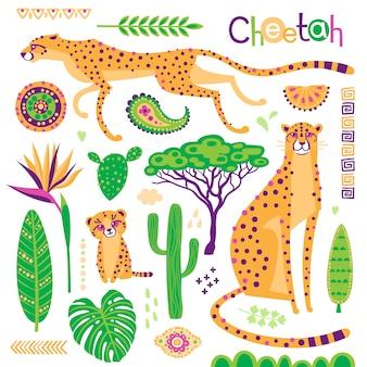 Conjunto de gatos exóticos silvestres, plantas tropicales y estampados étnicos. guepardos y su cachorro.