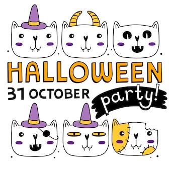 Conjunto de gatos de halloween