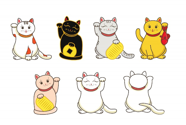 Conjunto de gatos japoneses