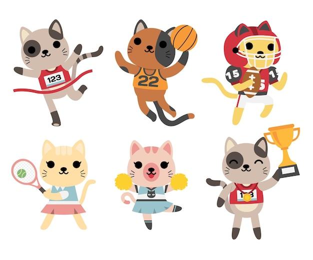Conjunto de gatos jugando, tenis, baloncesto, fútbol americano, vítores, trofeo ganador
