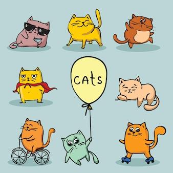 Conjunto de gatos lindos vector doodle en diseño simple para tarjetas de felicitación para niños